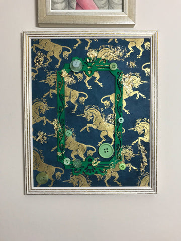 Teal, Green and Gold Leaf Unicorn collage in a frame. Gorgeous vintage style decoration. - Cthulhu Cat Cult