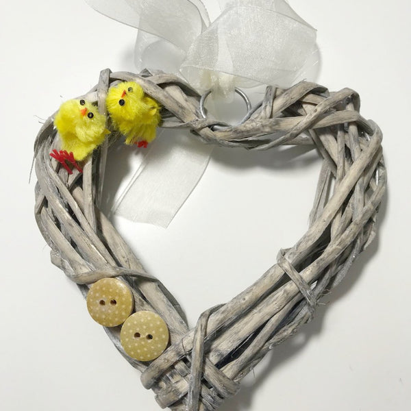 Yellow Chick and Button Wicker Mini Door Wreath. Easter Wall Hanging Gift. - Cthulhu Cat Cult