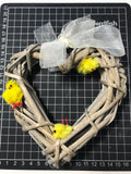 Yellow Three Chick Easter Wicker Mini Wreath. Ostara Decoration Wall Hanging - Cthulhu Cat Cult