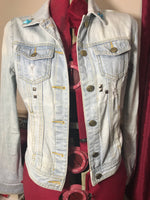 Patched 80's Style Denim Jacket. Patchwork, Polka Dot and Cute Bows. Size 6. Reworked Fashion. - Cthulhu Cat Cult