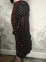 Reworked Pin Up Skirt. Silver Polka Dot Net and Plaid Rockabilly Pencil Skirt Size 8-10. - Cthulhu Cat Cult