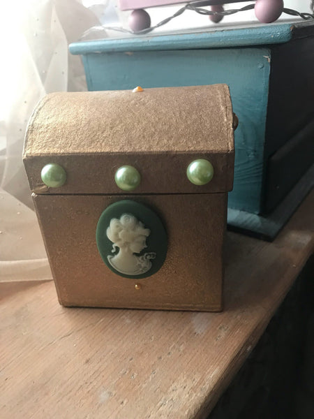 Gold and Green Shabby Chic Style Treasure Chest Small Storage Box. Victorian Steampunk Giftbox. - Cthulhu Cat Cult