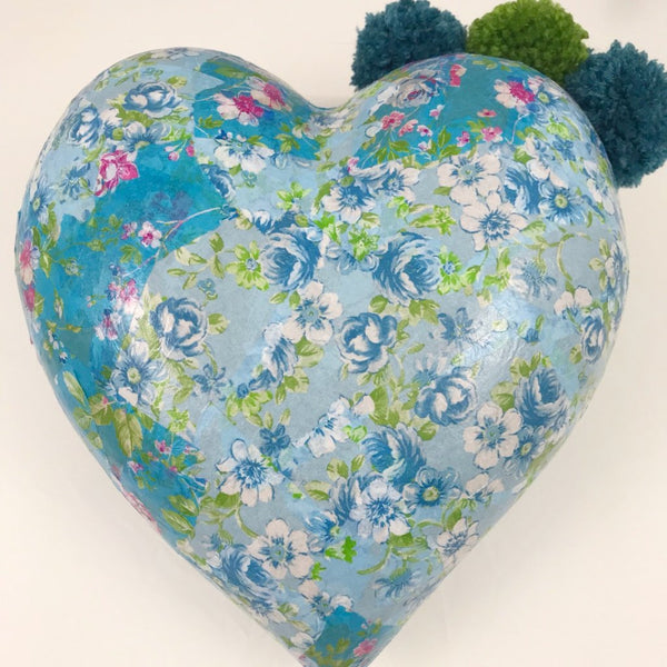 Floral Blue Large Decoupage Heart Shaped Ornament with PomPoms. - Cthulhu Cat Cult