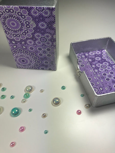 Snowflake Themed Silver and Purple Small Gift Box or Business Card Holder. - Cthulhu Cat Cult