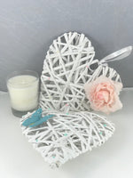 White and Pink Wicker Heart Shaped Floral Decoration. Wedding, Baby, New Home Gift. - Cthulhu Cat Cult