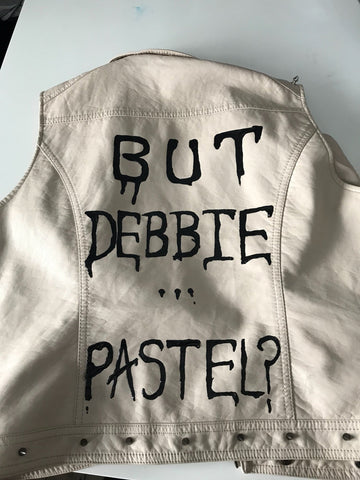 But Debbie...Addams Family Themed, Fake Leather Pastel Pink Studded Vest Jacket. Size 14. - Cthulhu Cat Cult