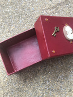 Steampunk Burgundy Victoriana Small Box. Jewellery, Button, Business Card, Gift Box. Key Decoration. - Cthulhu Cat Cult