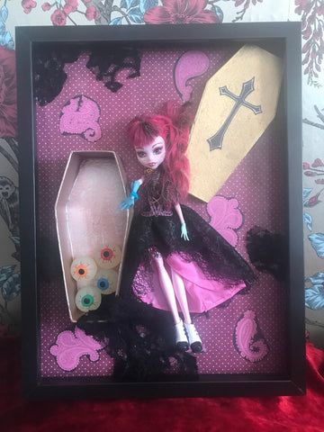 Pink Horror High Vampire Halloween Doll Frame. Cute and Creepy Box Frame. - Cthulhu Cat Cult