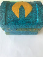 Aquaman Themed Small Storage Box. Decoupage Blue and Green. Shell Shapes and Gems. - Cthulhu Cat Cult