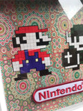Mario and Link Nintendo White Box Frame. Decoupage and Pixel Art. - Cthulhu Cat Cult