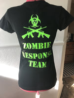 Zombie Response Team Black and UV Green TShirt. Small. - Cthulhu Cat Cult
