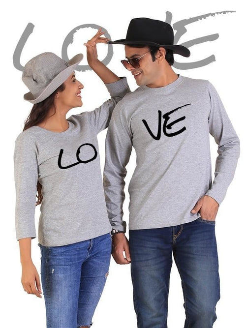 LOVE Couple Full Sleeves Gray