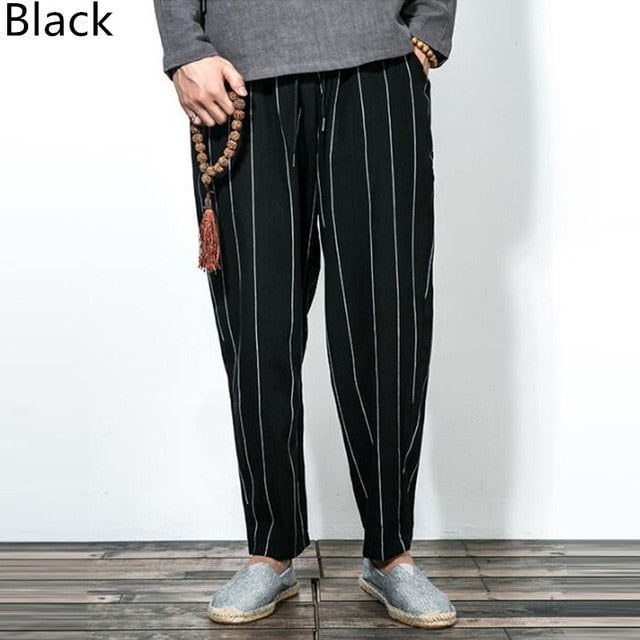 Vertical Trousers Elastic Waist Autumn