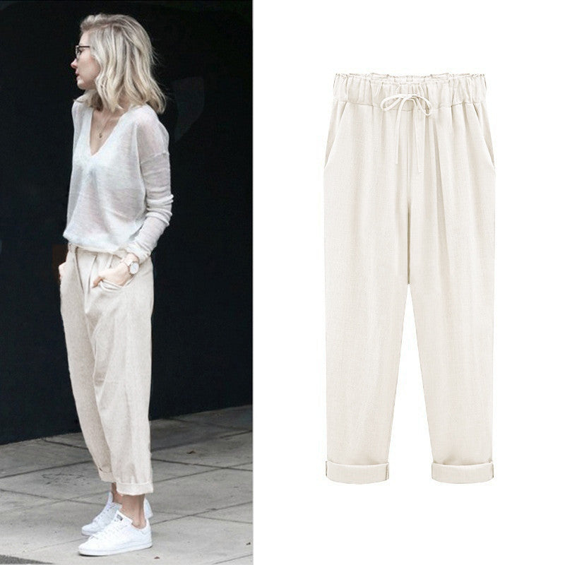 Elastic Waist Summer Slim Lady Pants