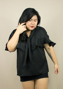 'RAPHAEL' BLACK RUFFLE CAPE TOP