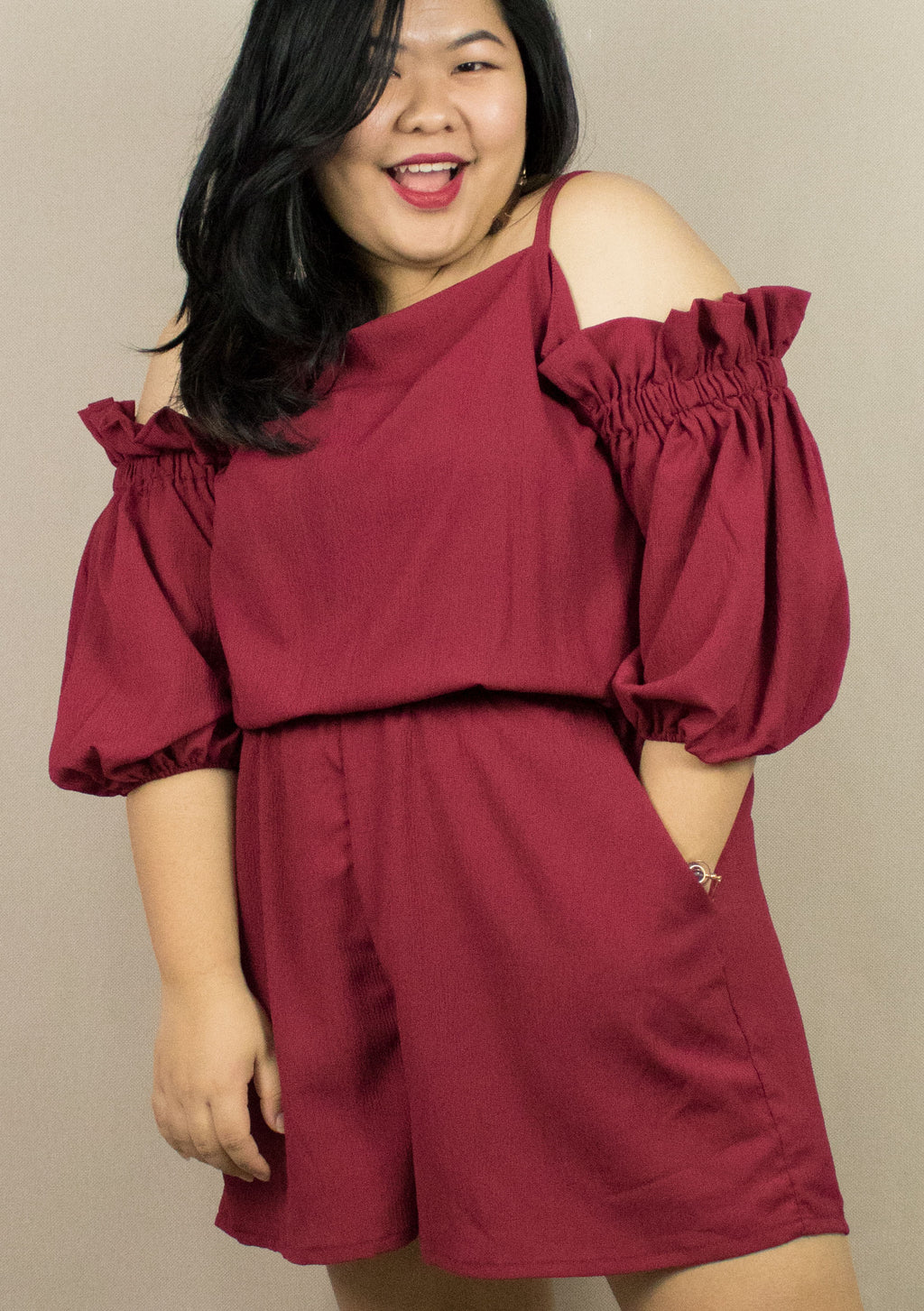 'RUBY' RED RUFFLE JUMPSUIT