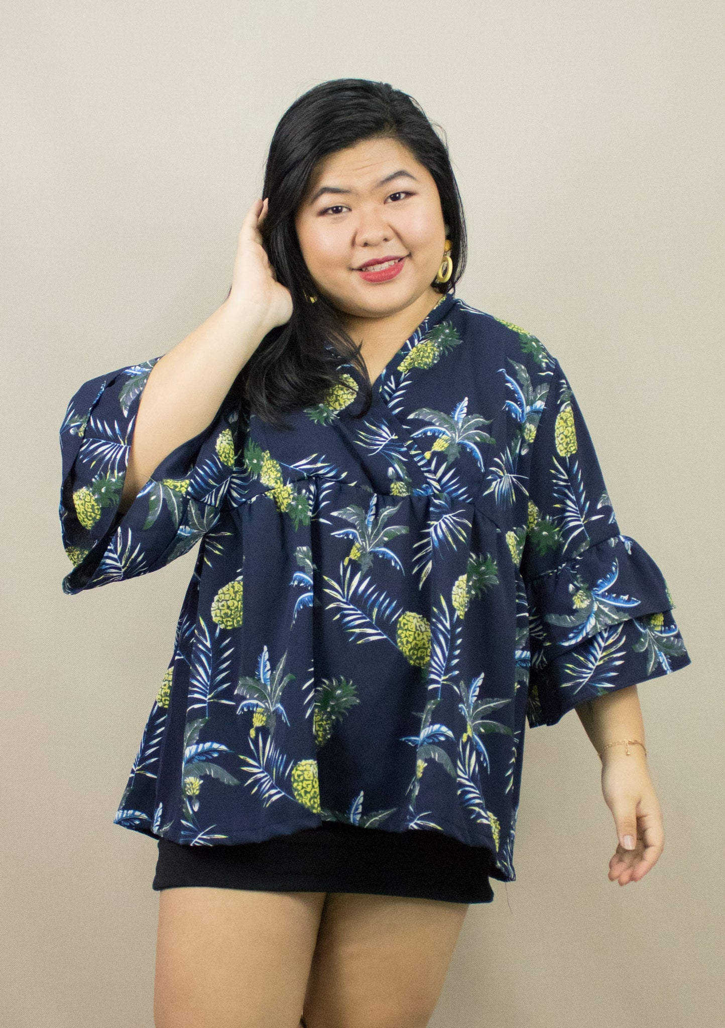 'CALLY' PINEAPPLE OVERSIZE BLOUSE