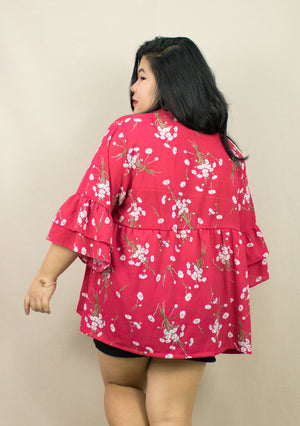 'CALLY' RED OVERSIZE BLOUSE