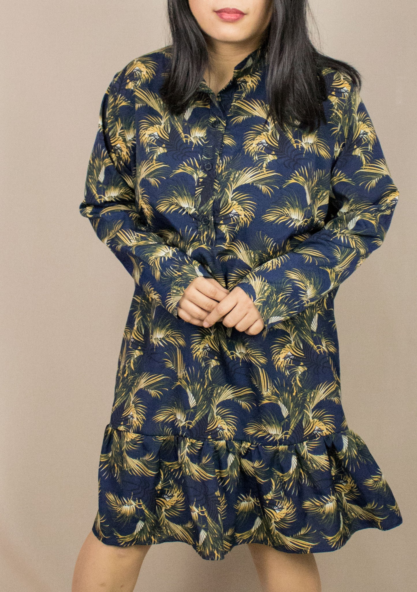 'DIANE' ROYAL PALM LONG SLEEVE DRESS