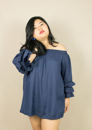 'LAYLA' BLUE OFF-SHOULDER LONG TOP