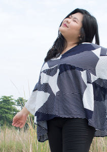 'Ellie' Geometric Oversize Top