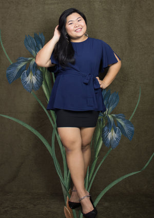 ' Audrey ' Navy Flare Blouse
