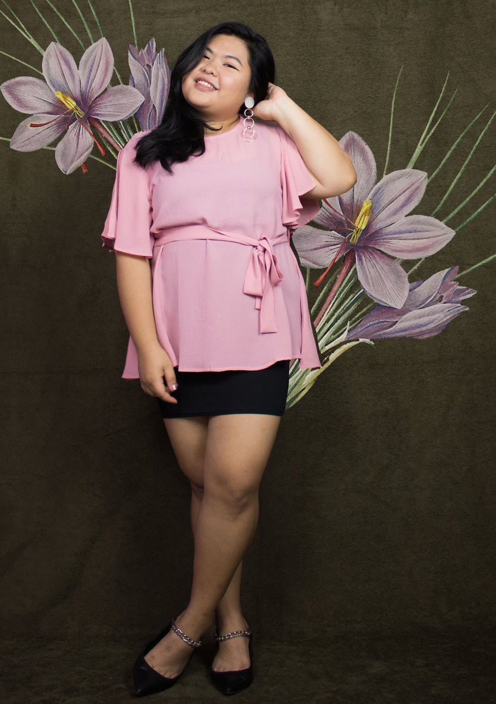 ' Audrey ' Pink Flare Blouse