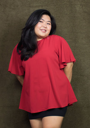 ' Audrey ' Red Flare Blouse