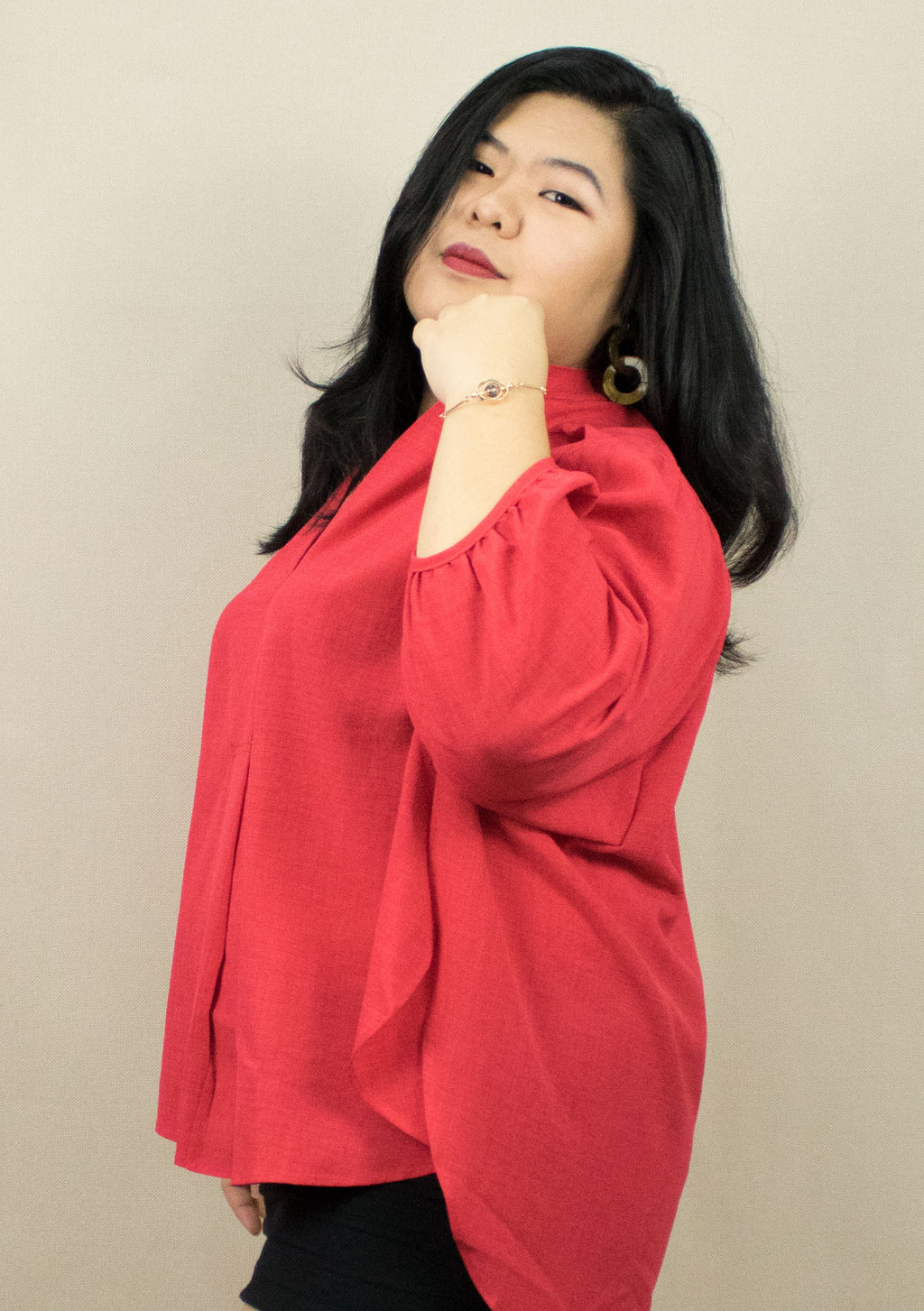 'ANNE' RED BLOUSE