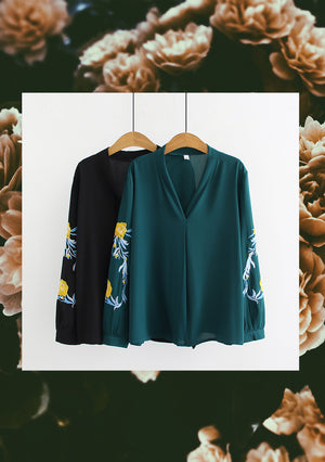 'Christal' Embroidered Sleeve Blouse (2colours)
