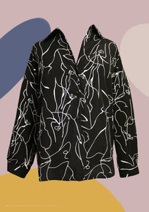 ' Avery ' Abstract Shirt (BLACK)