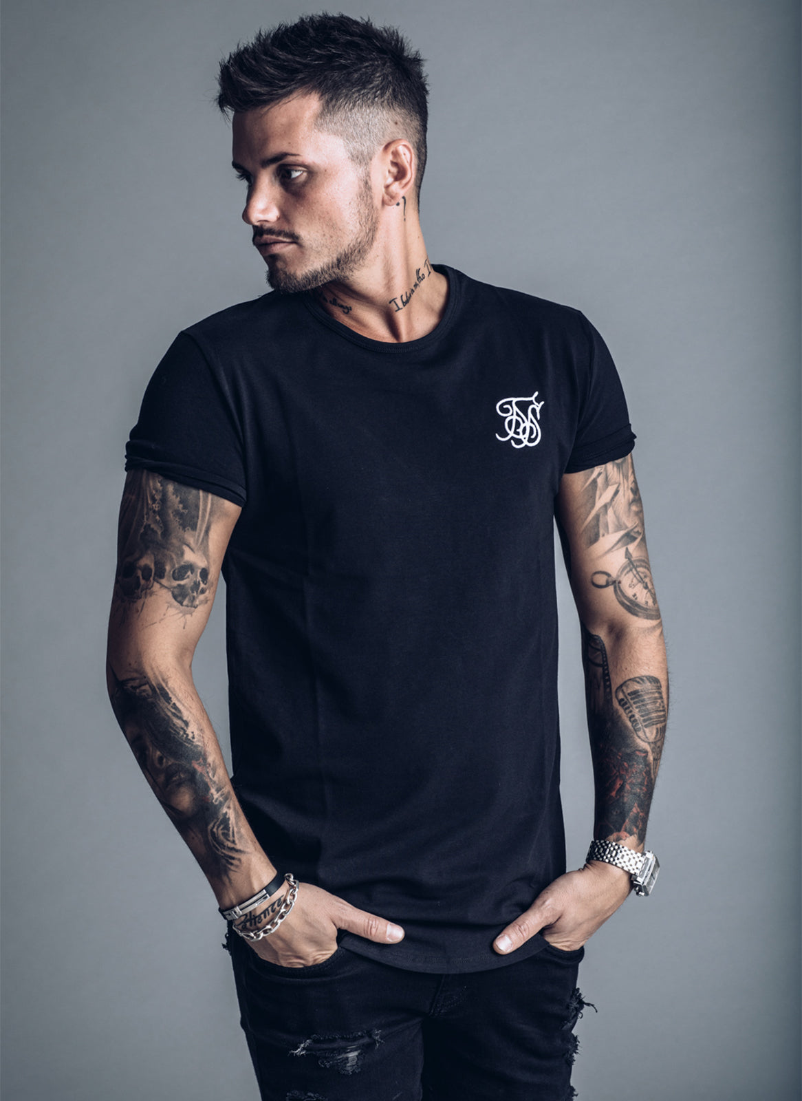 SikSilk Short Sleeve Gym T-shirt - Black