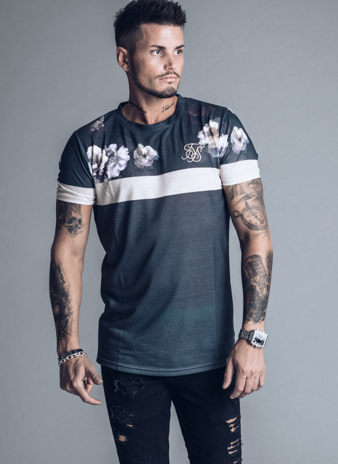 SikSilk S/S Curved Hem Sports T-shirt - Antique Rose