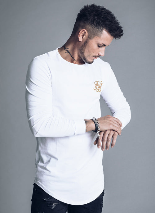SikSilk Long Sleve Gym T-shirt - White and Gold