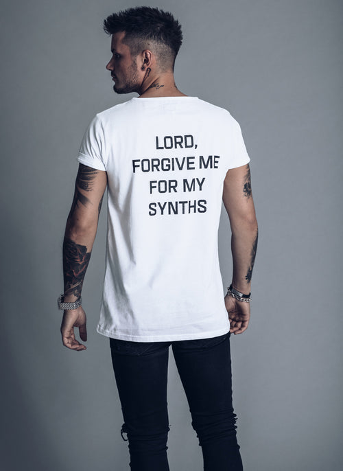 Lord forgive me for my synths - White T-shirt - We Love Techno