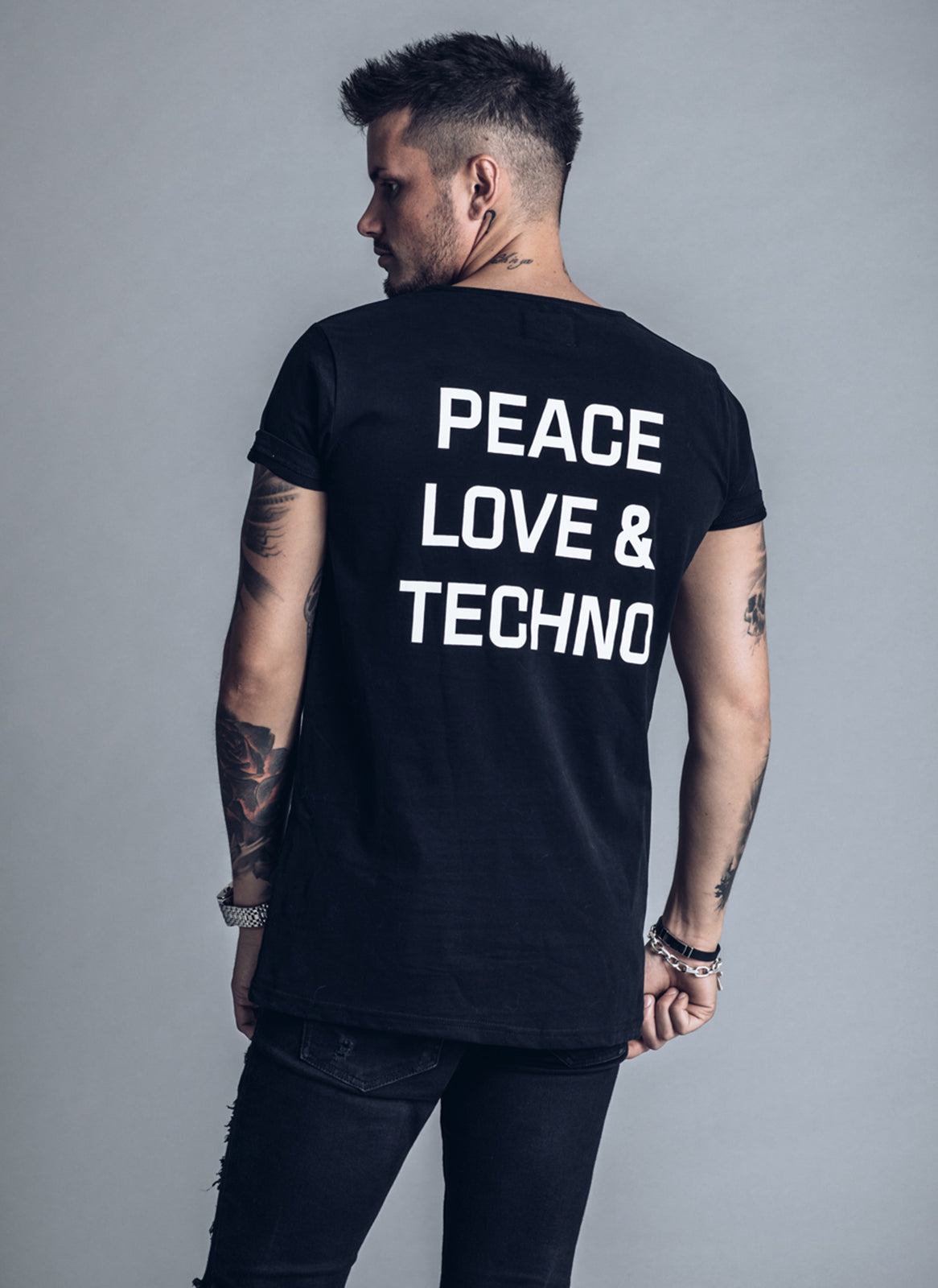 Peace Love Techno - Black t-shirt - We love techno