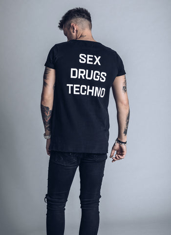 Sex Drugs Techno - white t-shirt - We love techno