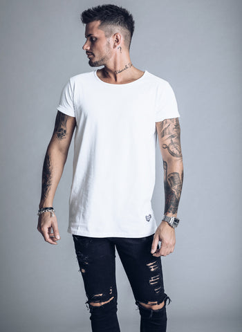 SikSilk Curved Hem Fade T-shirt - Antique Rose