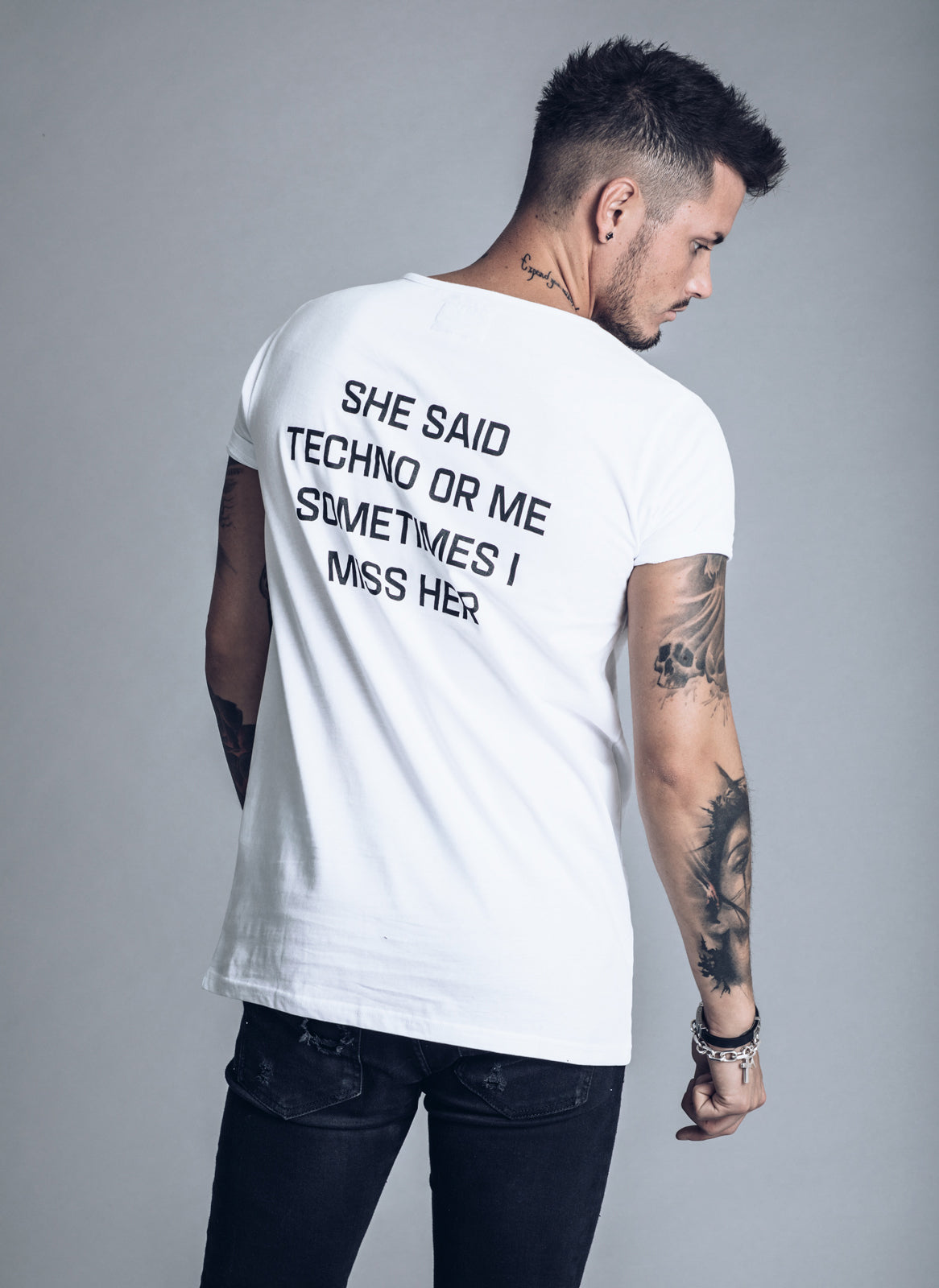 She Said Techno or Me Sometimes I Miss Her - White T-shirt - We Love Techno