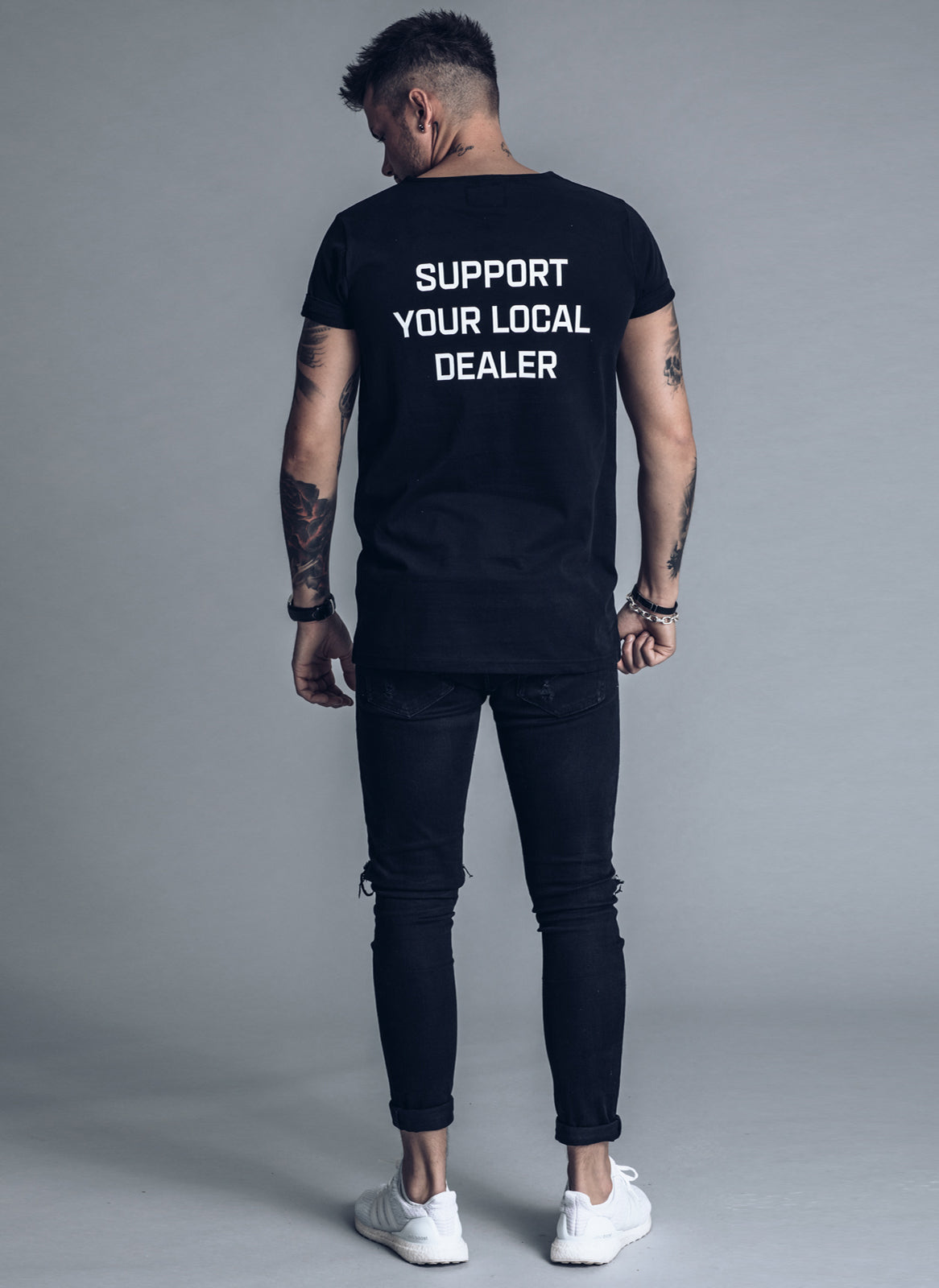Support Your Local Dealer - Black t-shirt - We love techno