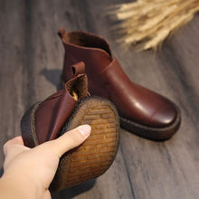 Load image into Gallery viewer, Chic Brown/Black Retro Leather Booties - Abershoes