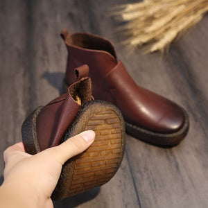 Chic Brown/Black Retro Leather Booties - Abershoes