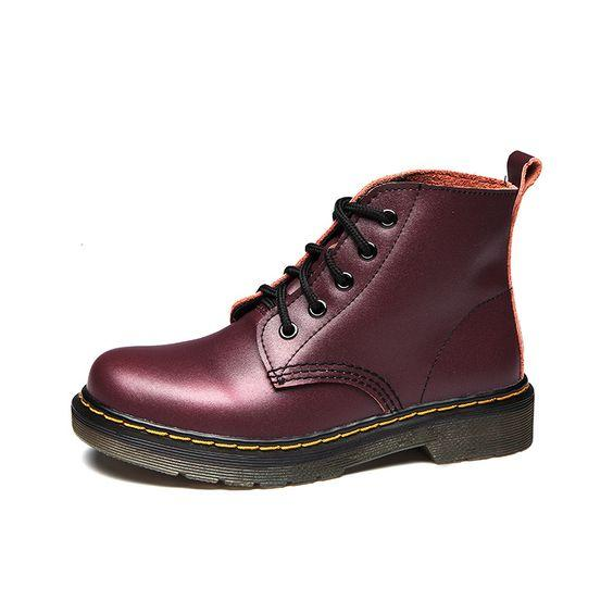 Couples British Trend Leather Martin Boots - Abershoes