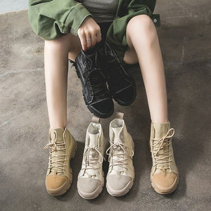 Women's British Street Style High Top Martin Boots - Abershoes