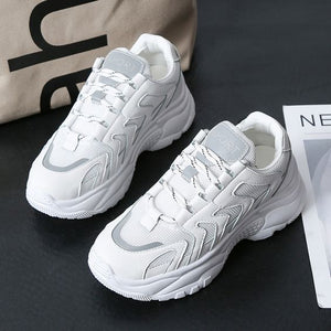 White/Black/Beige Trendy Dad Sneaker Shoes - Abershoes