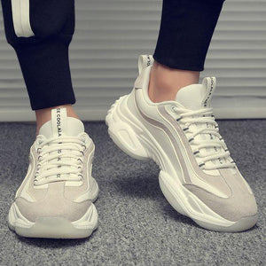 Trendy Striped Comfortable Sneaker Shoes - White - Abershoes