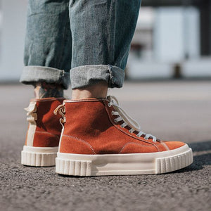 Couples Trendy High Top Leather Shoes - Abershoes