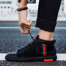 Load image into Gallery viewer, Trendy British Black High Top Shoes - Abershoes