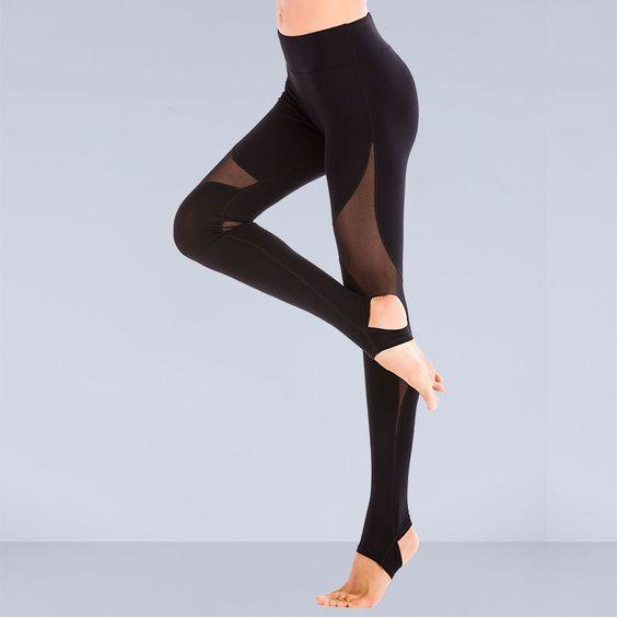 Mesh Insert Normal Active Leggings - Abershoes