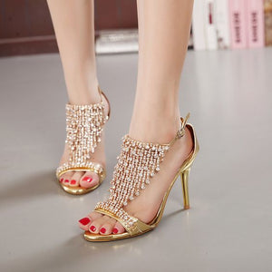 Sexy Rhinestone High Heel Sandal Shoes - Abershoes